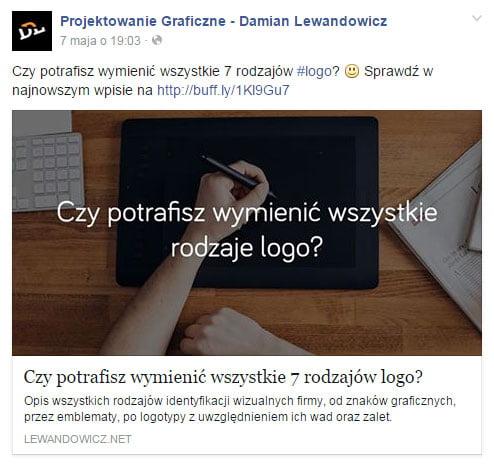 Przykładowy post zlinkiem naFacebooku zezdjęciem 1200x628 px
